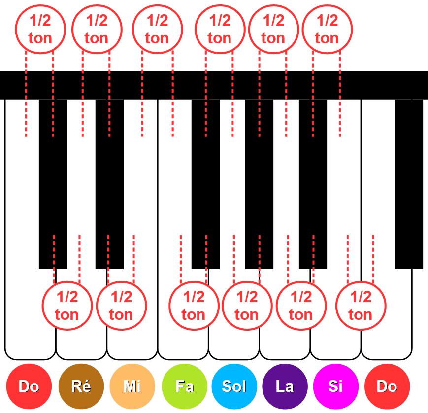 Toutes les touches du piano sont séparées d'1/2 ton