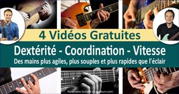 4 vidéos gratuites pour améliorer Dextérité, Coordination et Vitesse à la guitare