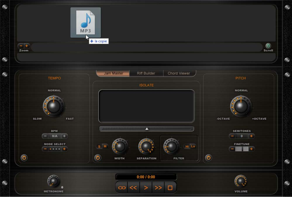 Glisser un fichier mp3 sur Riffstation pro