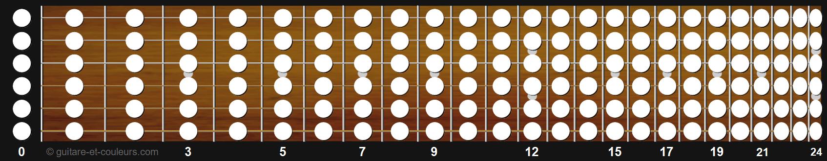 manche de guitare avec notes prépositionnées à mettre en couleur