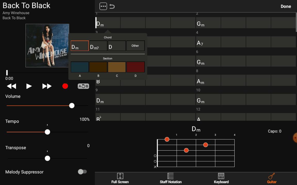 Yamaha Chord Tracker - Couleur par défaut