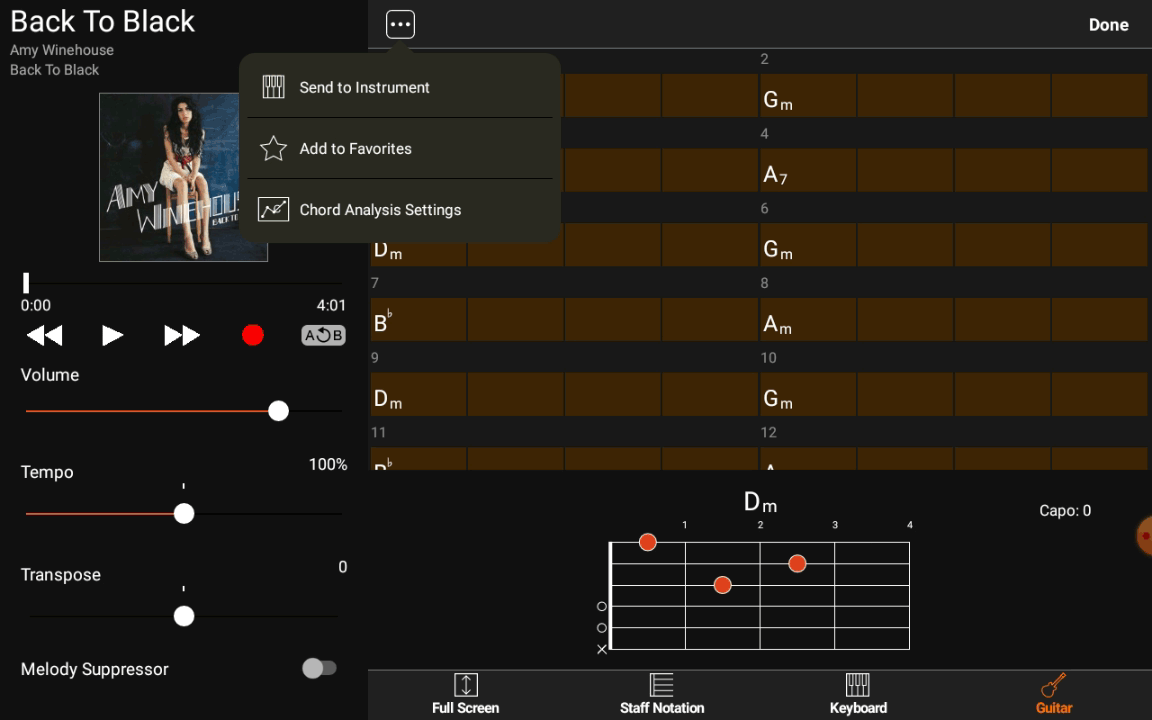 Yamaha Chord Tracker - Options complémentaires