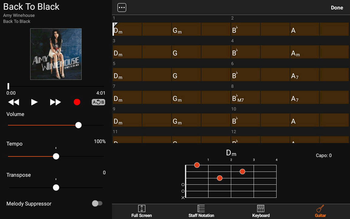 Yamaha Chord Tracker - Tempo 1/2
