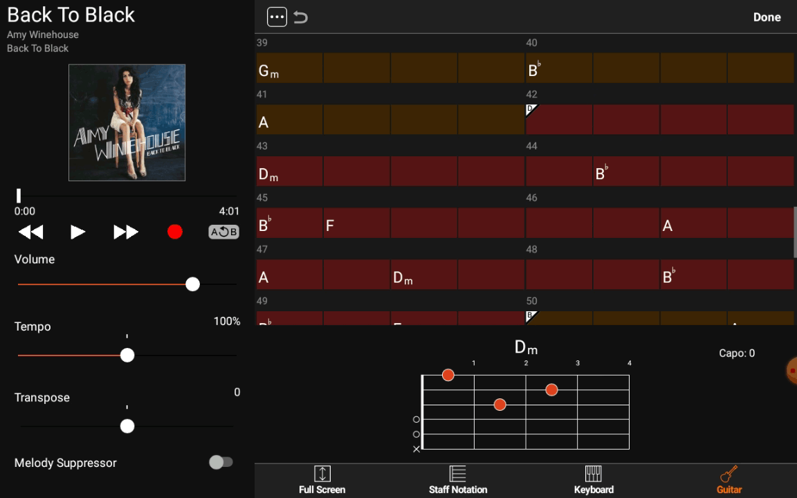 Yamaha Chord Tracker - Exemple de section