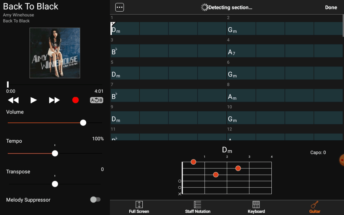 Yamaha Chord Tracker - Détection sections
