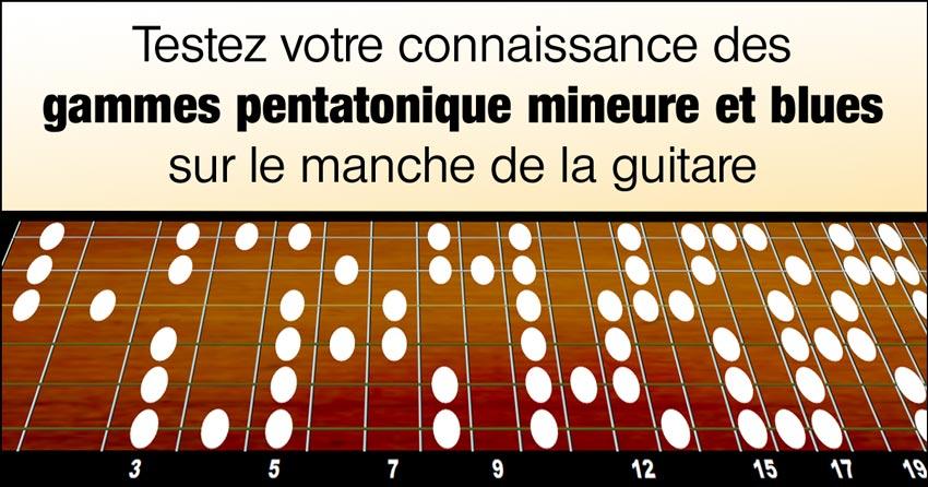 Testez votre connaissance des gammes pentatonique mineure et blues sur le manche de la guitare