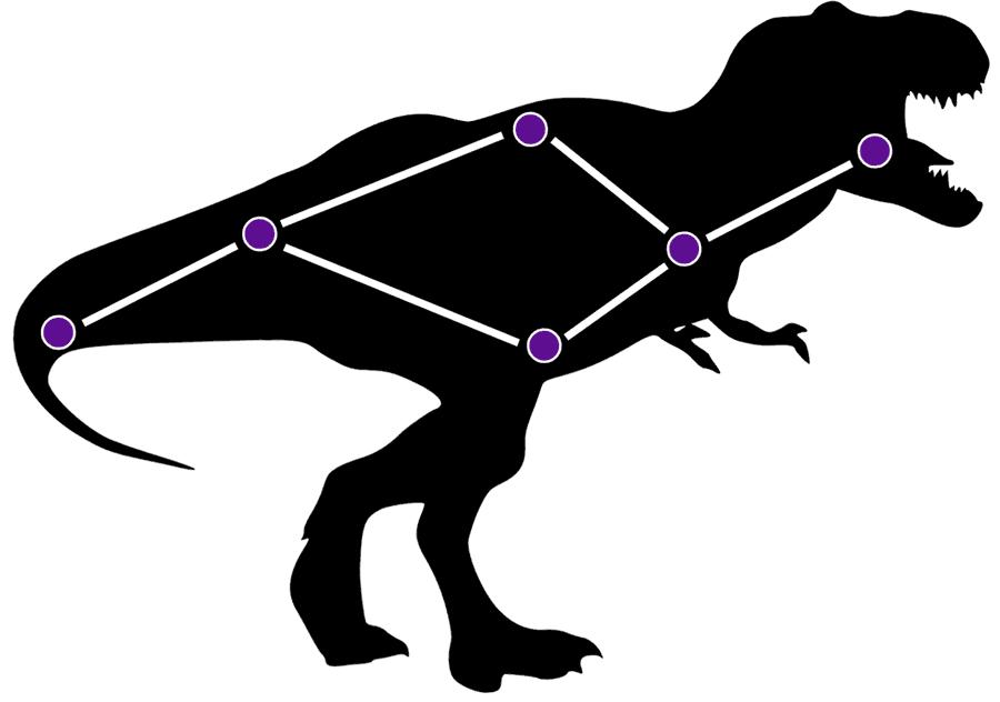 le schéma du dinosaure sur le manche de la guitare