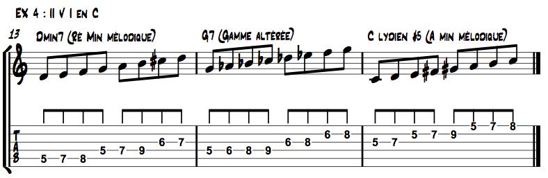 Utiliser une gamme mineure mélodique différente sur chaque accord du II V I