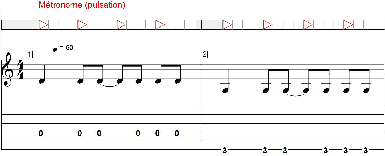 Les bases indispensables pour comprendre les RYTHMIQUES à la guitare - Exemple avec une suite de notes (1/2)