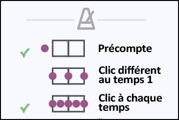 Réglages du métronome sur le lecteur de tablatures en ligne