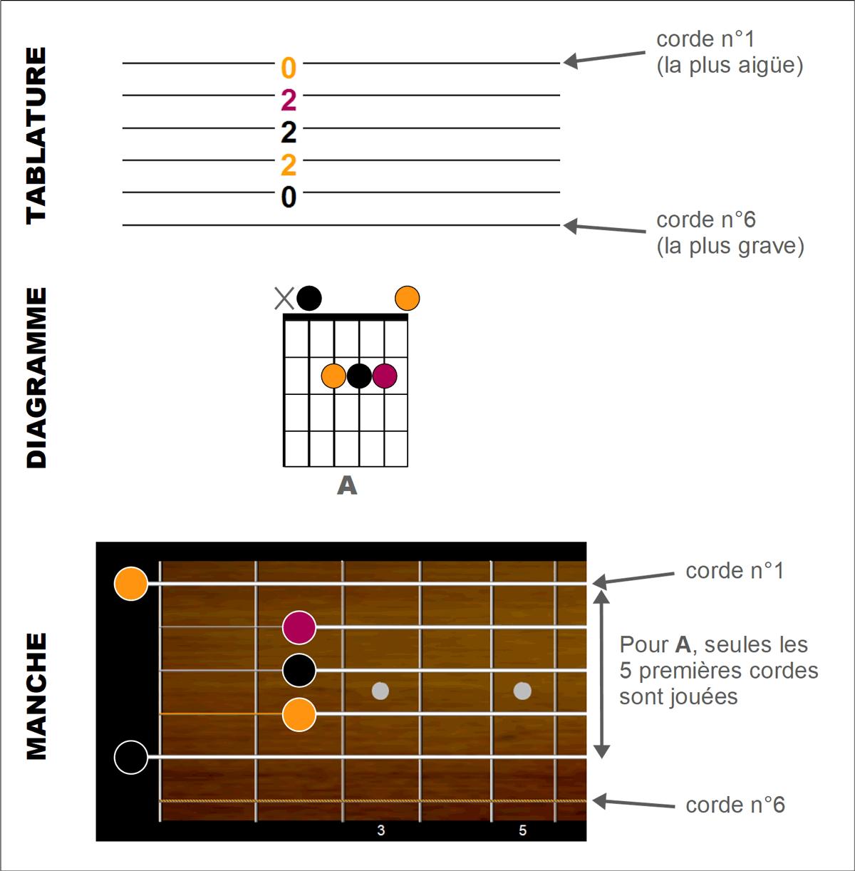 Comparaison notation des accords en tablature, diagramme et notes sur le manche